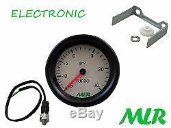 52mm & Pressure Sensor Gauge Kit 30psi White Dial Electronic Engine No