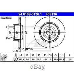 ATE 2x Disques de Frein Plein Recouvert 24.0109-0136.1