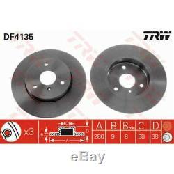 TRW 2x Disques de Frein Plein Peint Noir DF4135
